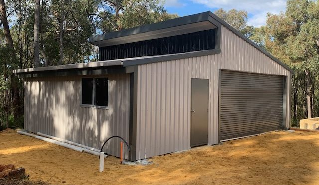backyard double skillion roof shed and garage in Byford